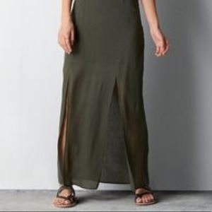 American Eagle Olive Green Maxi Skirt